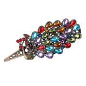 YAZILIND Retro Rhinestones Colourful Crystal Brass Hollow Peacock Duckbill Hair Clip Accessories