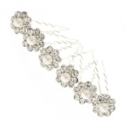Pearl and Crystal Daisy Bridal Hair Pins x 6