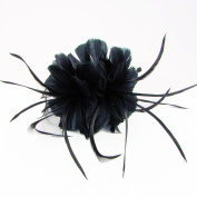 Geneva Feather Fascinator on Band in Black