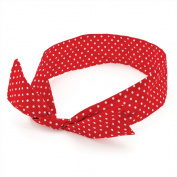 Red & White Polka Dot Bow Wire Headband Scarf