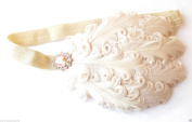 Nude Cream Vintage Feather Headpiece 1920s Headband Flapper 30s Great Gatsby k86 *EXCLUSIVELY SOLD BY STARCROSSED BEAUTY*