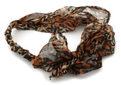 Zest Leopard Print Chiffon Fabric Bow Headband Brown, Black and Cream