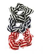 Set of 3 Stripe Scrunchies - 1 Black, 1 Navy, 1 Red