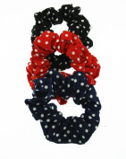 Set of 3 Polka Dot Hair Scrunchies - 1 Black, 1 Navy, 1 Red