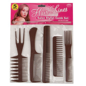 5 BROWN WIDE TOOTH PROFESSIONAL HAIRDRESSER COMBS HAIR SALON QUALITY BRUSHES DETANGLE