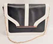 Two Tone Black and Cream Handbag bronze chain