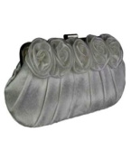 Flower Design Satin Clutch Bag With A Long And Short Chain - Wedding Evening Party Purse Handbag