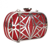 Red Metal Cut Out Box Clutch Bag With A Long Chain - Valentines Christmas Evening Party