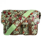 Stylla Owl Pattern Oilcloth Designer Satchel Cross body Messenger Bag