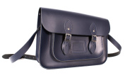 36cm Navy English Magnetic Snap Leather Satchel - Classic Retro Fashion Bag