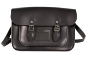 36cm Black English Magnetic Snap Leather Satchel - Classic Retro Fashion Bag