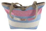 Blue and Pink Striped Cotton Tote Large Back to Basics Shopper Bag by Bill Brown
