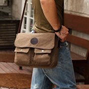 Eshow Men's British Style Retro Casual Canvas Cross Body Messenger Traval Shoulder Bag,Brown