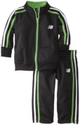 New Balance Baby-Boys Infant Brushed Tricot Jacket and Pant Set, Black/Lime, 12 Months Colour