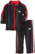 New Balance Baby-Boys Infant Brushed Tricot Jacket and Pant Set, Black/Red, 18 Months Colour