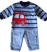 Newborn nb months - Baby Boys Outfit - Adorable Grey Blue & Red Car Long-sleeved Striped Top and Bottoms Set