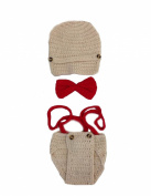 JTC Baby Infant Girl Boys Photography Photo Knitted Custome Sets Beanie Hat +Bowknot +Pants Beige and Red