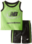 New Balance Baby-Boys Infant Dazzle Muscle T-Shirt and Athletic Short Set, Black/Lime, 24 Months Colour
