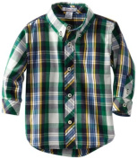 Kitestrings Baby-Boys Infant Plaid Button Front Shirt, Navy Plaid, 12 Months Colour
