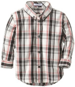 Kitestrings Baby-Boys Infant Yarn Dyed Plaid Button Front Shirt, Black/Red Plaid, 18-Months Colour