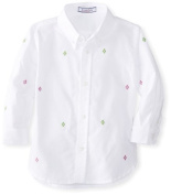 Kitestrings Baby-boys Infant Argyle Button Down Shirt, White Embroidered, 12 Months Colour