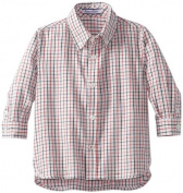 Kitestrings Baby-Boys Infant Long Sleeve Plaid Button Down Shirt, Red/White Plaid, 18 Months Colour