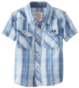 Lucky Brand Baby-Boys Infant Back Bay Button Up Shirt, Ensign Blue, 12 Months Colour