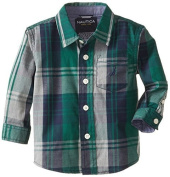 Nautica Babys Infant Woven Long Sleeve Plaid Shirt, Hunter, 12 Months Colour