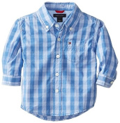 Tommy Hilfiger Baby-Boys Newborn Long Sleeve Mander Gingham, Blue Fin, 6 Months Colour