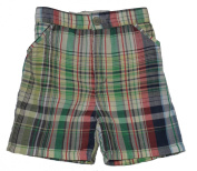 Baby Boys Lined Green Cheque Shorts
