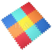H & S® 9pcs 10mm Thickness Soft EVA Foam Baby Childrens Kids Interlocking Floor Exercise Play Mat