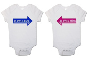 "Twins Baby bodysuits (Set Of 2) ""It Was Him"" and ""It Was Her"" Babygrow Vest"