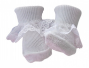 6 Pairs of Baby Girls white Lace trim Cotton Rich Socks