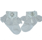 CHRISTENING BABY SOCKS, WHITE TULLE LACE FRILL,HEART DIAMANTE TRIM,'ALICIA'