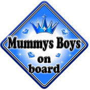 GEM JEWEL MUMMYS BOYS Baby on Board Car Window Sign