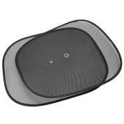 2 Pcs Foldable Car Window Side Sun Shade Cover Visor Shield Screen Mesh Black