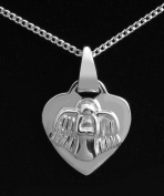 "Sterling Silver necklace for Birth or Christening, featuring a small heart engraved with the words ""Guardian Angel Protect Me"" and an angel on the reverse."