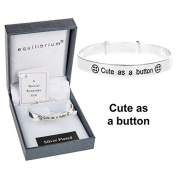 EQUILIBRIUM CHILD'S SILVER PLATED CUTE AS A BUTTON NEW BABY CHRISTENING EXPANDABLE BRACELET