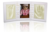 NEW BABY WHITE PICTURE FRAME FOOT & HAND PRINT CLAY CASTING KIT LOVELY GIFT