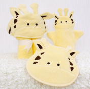 Bathing Bunnies Giraffe Baby Towel Gift Set Light Yellow