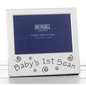 Shudehill Baby's 1st Scan Photo Frame Picture Ultrasound 77216 | Ideal for Baby Showers New Mums and Parents | Polished Satin Silver
