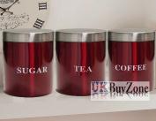 3 Set Kitchen Canister Storage Set Tea Coffee Sugar Stainless Steel Jars Red