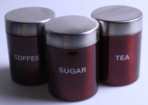 3 set kitchen canister storage set tea coffee sugar stainless steel jars red fr ebay - Modern tea and coffee canisters ...