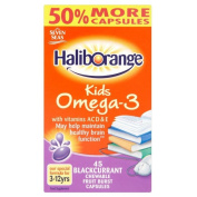 Haliborange Kids Omega 3 + Vitamins A C D & E Blackcurrant Chewable Fruit Burst Capsules