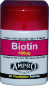 Ampro Biotin - 30 Tablets x 500mcg / Helps maintain Hair, Skin and Nails / Support For Nervous System