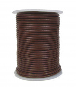 Round Leather Cord, 2mm Brown, 25 Metre Spool (~28 Yards) for Beading, Jewellery, Crafts