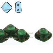 Teal Picasso 6mm Diamond Glass Czech Two Hole Tile Bead 40 Beads