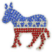 Rhinestone Democrat Donkey Brooch Lapel Pin