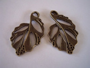 2 Pieces Antique Bronze Large, Open Work Leaf Charms Jewellery Findings, Jewellery Supplies, Earrings