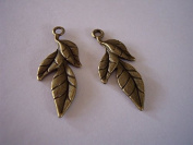 2 Pieces Antique Bronze Leaf Charms Jewellery Findings, Earring Supplies